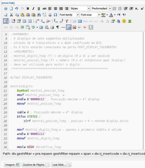PHPH com br - Joomla: GeSHi com o editor JCE